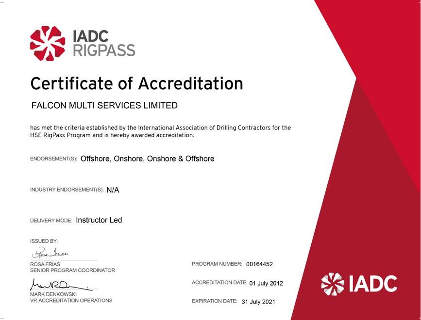 IADC Rigpass Certificate