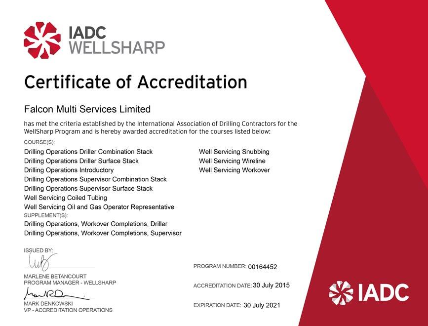 IADC Wellsharp Certificate